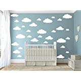 31 pcs Mix Size 4-10 inch Clouds Wall Decal Sticker For Kids Bedroom Decor -DIY Home Decor Vinyl Clouds Mural Baby Nursery Room Wallpaper (White)
