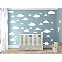 4-10 Inch Different Size Multi Clouds Wall Decal -Clouds Baby Decal-Kids Bedroom Decoration Clouds-Removable DIY Home Decor Wall Stickers (White)