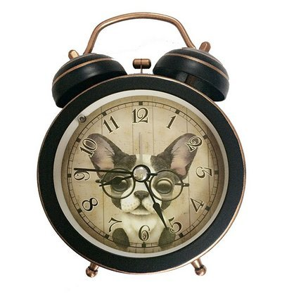 Cute Dog Silent Quartz Analog Quiet Non-ticking Retro Vintage Classic Bedside Twin Bell Alarm Clock Wind-Up Clock with Loud Alarm and Nightlight (Black)