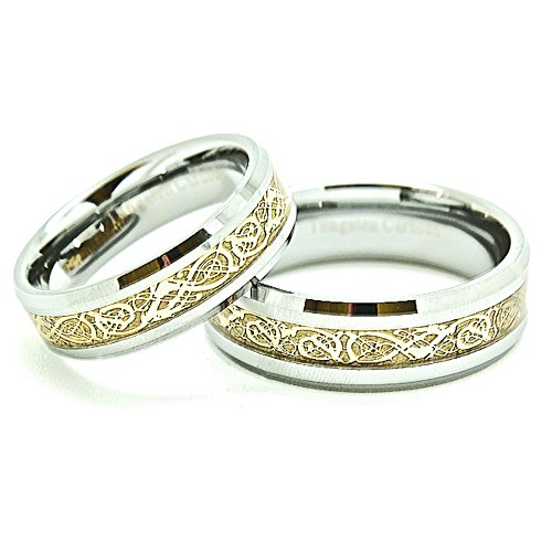 Blue Chip Unlimited Matching 6mm & 7mm Tungsten Golden Colored Celtic Dragon Inlay Wedding Rings (Check Listing for Sizes)