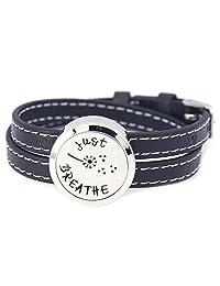 Mesinya Black Genuine Leather 1'' Just Breathe Bracelet / 316L S.Steel Essential Oils Diffuser Locket Bangle 6''-7''wrist