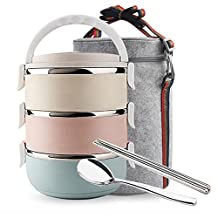 Mr.Dakai 3 Tier Stainless Steel Heat/cold Insulated Lunch Box, Lock Container Bag/Food Carrier / Food Container With Spoon and Chopsticks Set for Adults Children Kids (Round)