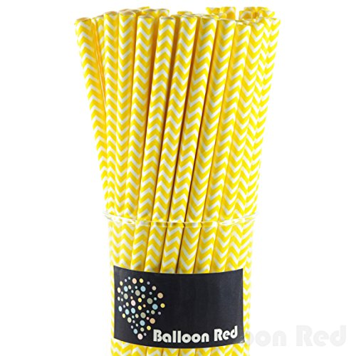 Biodegradable Paper Drinking Straws (Premium Quality), Pack of 50, Chervon - Yellow