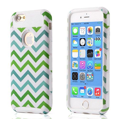 iPhone 6S hülle, Lantier Dual Layer Hybrid Luxury Fashion Shockproof Soft-Hard Case für das Apple iPhone 6, iPhone 6S Green White Blue Wave Style White