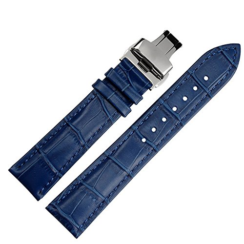 Blue Genuine Alligator Watch - 20mm Blue Calfskin Genuine Leather Watch Band Strap Bracelet Replacement Butterfly Buckle