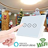 110 timer switch - Smart WiFi Wall Light Switch Work with Alexa,Weton Touch Wall Switch Panel,Smart Light Timer Switch 110-240V,No Hub Required,Remote Control Your Smartphones from Anywhere
