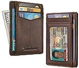 Travelambo Minimalist Slim Front Pocekt Wallet for Men and Women RFID Blocking (hunter CH coffee)