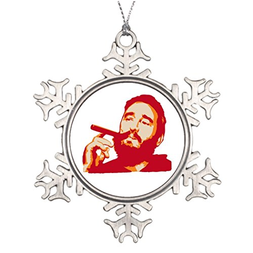 Tree Branch Decoration Fidel Castro with Cigar Portrait Christmas Snowflake Ornament Tree (Communist Ornaments Christmas)
