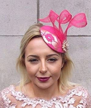 Gold Cerise Hot Pink Fascinator Hat Hair Clip Pillbox Races Formal Cocktail  4623  Amazon.co.uk  Beauty 15366fd5408