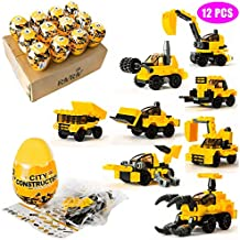 Building Blocks Construction Vehicles Toys - Engineering Set for Age 6-12 Learning Educational Mini Toys Inside 12 Filled 3 inches Surprise Eggs 24 Different Shapes with Guide Trucks Nanoblock Bricks