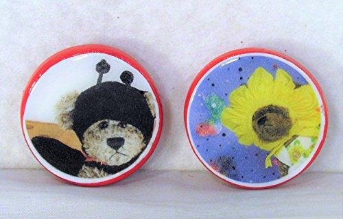 1.25 inch Refrigerator Magnets Set Costume Bears Original Photography of Ty Beanie Baby Teddy Toys Kitschy Kitchen Photo Art Decor Round Ceramic Clay Ladybug Sunflower -