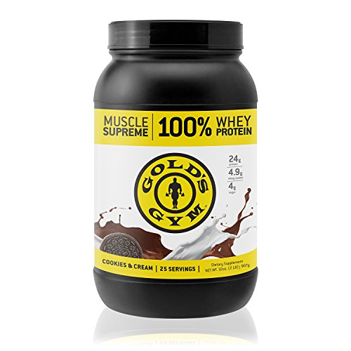 Mass Meal Vanilla Cream (Gold's Gym 100% Whey Protein Powder – Cookies and Cream – Workout Supplement for Muscle Mass & Strength Building – 25 Servings (2 lbs))