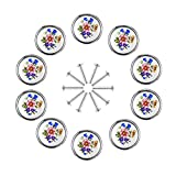 Derker 12pcs Round Pastorale Flower Design White Ceramic Knobs Pulls For Kitchen Drawer Cabinet Dresser (Blue Flower L)