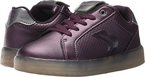 Geox Girls' Kommodor Lace Up Sneaker Prune/Slvr 32 M EU