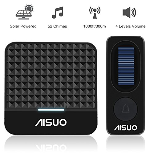 Aisuo Doorbell Kit   Solar Wireless Doorbell  Led Indicator   Flashing Alert Light  1000 Feet Signal Range  4 Adjustable Volumes And 52 Chimes  No Batteries Required  Outdoor Indoor  Black