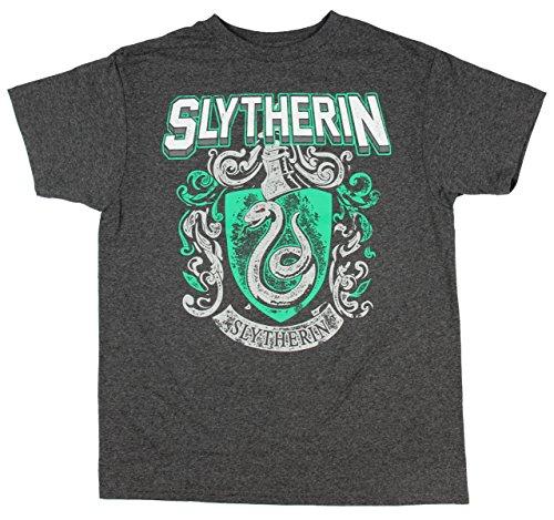 Crest Youth T-shirt - HARRY POTTER Slytherin Crest Youth T-Shirt - Heather Charcoal (Youth X-Large)