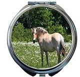 Rikki Knight Norwegian White Fjord Horse On White Flower Field Design Round Compact Mirror