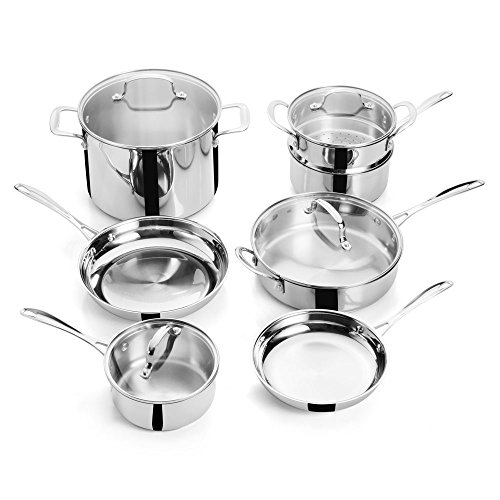 FortheChef's 11 Piece Superior Tri-Ply Bottom Mirror-Finish Full Stainless Steel Cookware Set with Glass Lids, Induction-Compatible