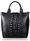 Pijushi Embossed Crocodile Leather Tote Top Handle Handbags 6061 (One Size, Black)
