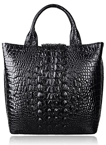 Pijushi Embossed Crocodile Leather Tote Top Handle Handbags 6061 (One Size, Black) by PIJUSHI