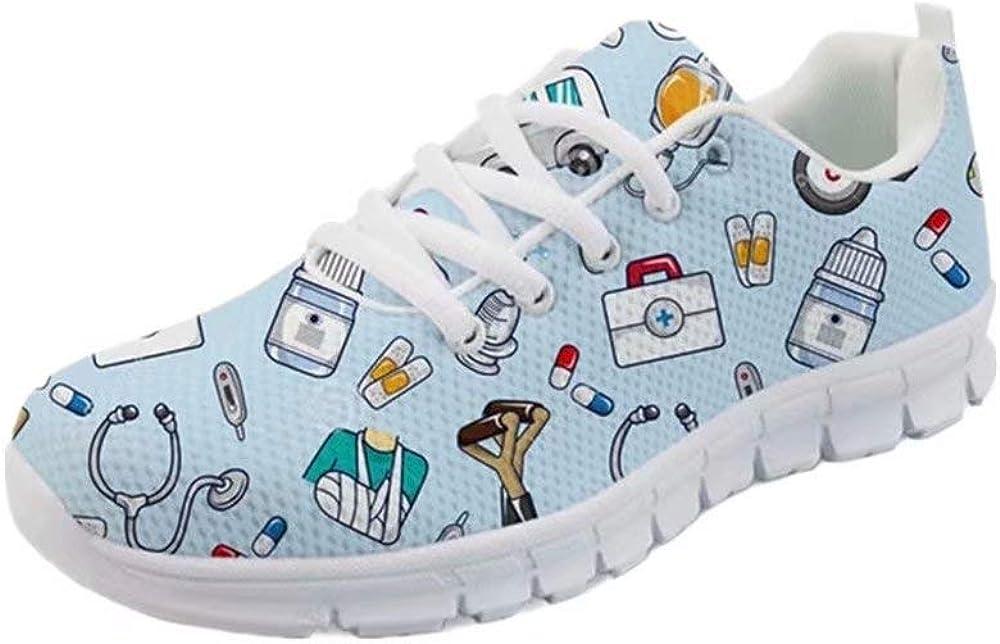 POLERO Sneaker Zapatillas de Deporte Multicolor con Imagenes Encantadoras para Dama Mujer con Cordones 36-45 Talla Europea