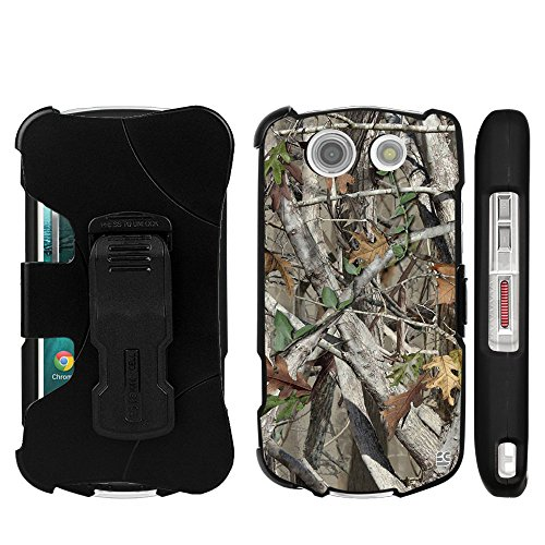 Beyond Cell 3303997 3 in 1 Kombo Protex Hard Slim Light 2 Piece Snap On Rubberized Rubber Coated Case with Holster Belt Clip for Kyocera Brigadier Bundle with Screen Protector (Retail Packaging) - Autumn Camouflage