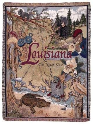 Hope Tapestry Throw - Simple State of Louisiana Mid-Size Deluxe Tapestry Throw Blanket SKU RTP007767