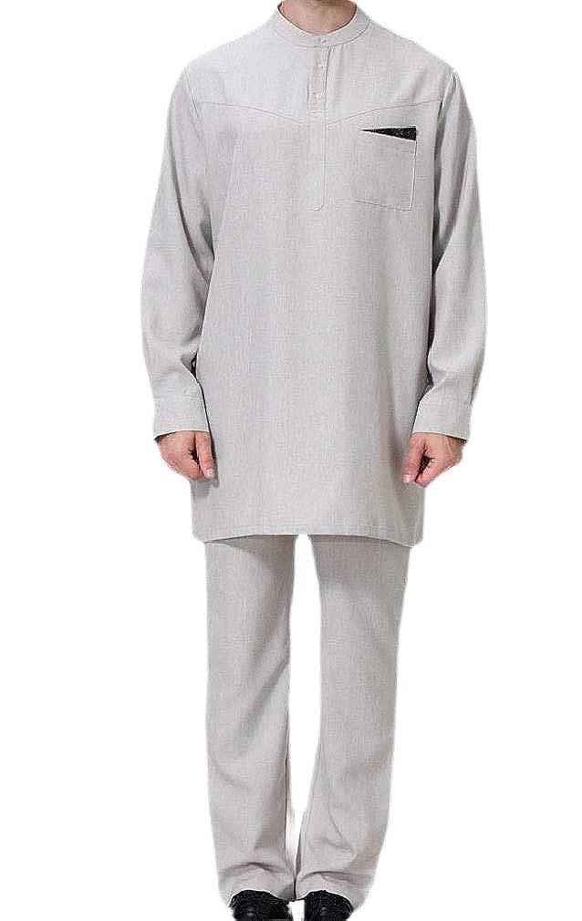 HEFASDM Men Thawb Caftan Set Muslim Islamic Basic Style Solid Blouse Shirt