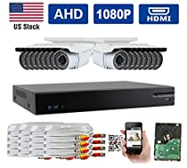 GW Security New AHD 16CH 1080P DVR Video Surveillance Camera System 16 1080P Megapixel Outdoor Weatherproof 100ft IR LED Night Vision Bullet Security Camera