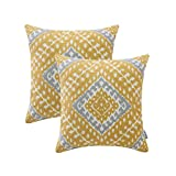 HWY 50 Cotton Embroidered Decorative Throw Pillows Covers Sets Cushion Case for Couch Sofa Bed Living Room 18 x 18 inches 45 x 45 cm Yellow Modern Chic Geometric Decor, Pack of 2