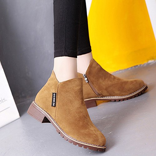 Amazon.com | FORUU Fashion Women Low Ankle Trim Round Toe Ankle Leather Boots Casual Martin Shoes | Knee-High