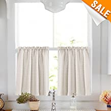"Waffle Woven Half Window Curtains Kitchen Tier Curtains Water-proof Window Curtain Set for Bathroom, 72"" x 36"", Oyster"