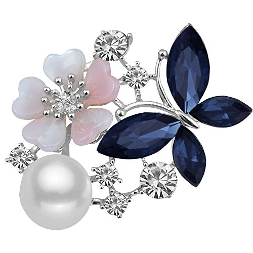 MUZHE Butterfly Flowers Pearl Rhinestone Ruby Brooch Sapphire Jewelry for Party (Blue)