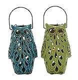 Plutus Brands 2 Assorted Ceramic Owl Lantern