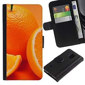 """A-type (Anaranjado lindo"""") Colorida Impresión Funda Cuero Monedero Caja Bolsa Cubierta Caja Piel Card Slots Para Samsung Galaxy S5 V SM-G900"""