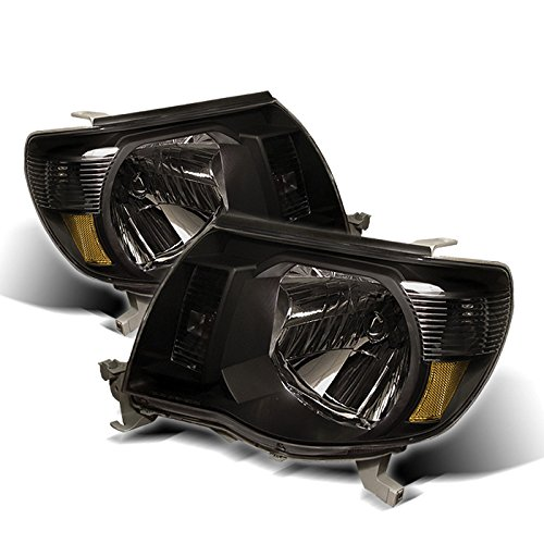 (Toyota Tacoma Amber Crystal Headlights Black Housing With Clear Lens )