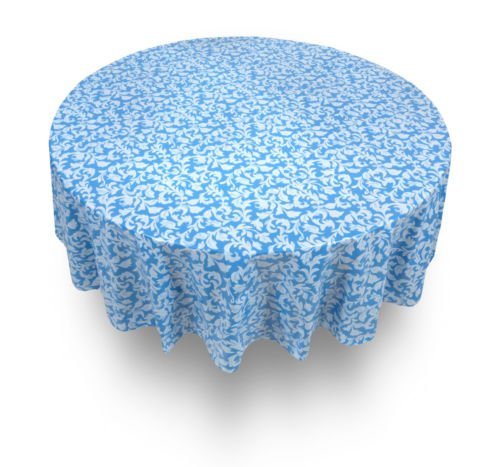 The Pecan Man Tablecloth Blue Damask Flannel back Vinyl Tablecloths 70