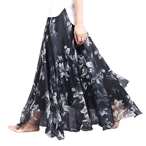 Longue Jupe Bohmienne Aivtalk 90cm En Chiffon Imprim Taille Lastique Taille 80cm Plage Femme pour Imprim noir t Mousseline wSEEqt5