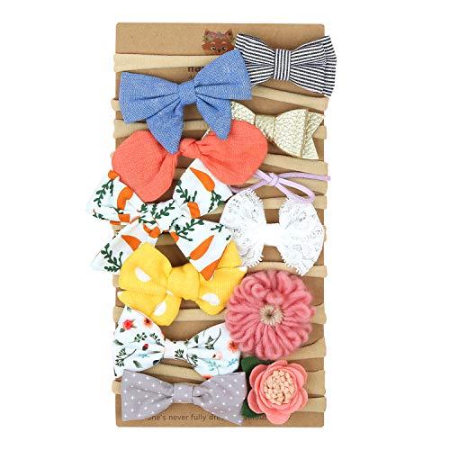 Makone Handmade Soft Baby Nylon Headband with Bows Flowers for Infant Baby Girls-12pcs