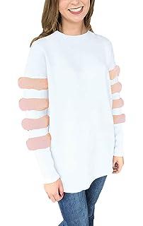 b8781c5f41556 Femme Top Elégante Décontracté Chic Chemisiers Printemps Automne Manches  Longues Fashion T-Shirts Rond Col