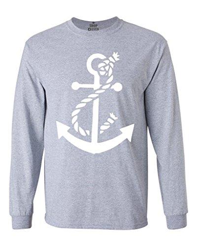 Anchor Long Sleeve T-shirt (Shop4Ever White Anchor Long Sleeve Shirt Nautical Shirts Large Sports Grey 0)