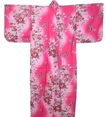 Japanese Women's Yukata Kimono Robe Peony Sakura 56in Size M