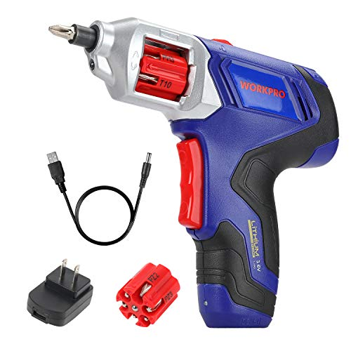 WORKPRO Cordless Rechargeable Power Screwdriver Lithium-ion 3.6V with Quick Change - 3.6v Screwdriver Cordless