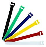 #10: YHmall Microfiber Cloth Cable Straps Hook and Loop Reusable Fastening Cable Ties, Multicolor, 60 Piece