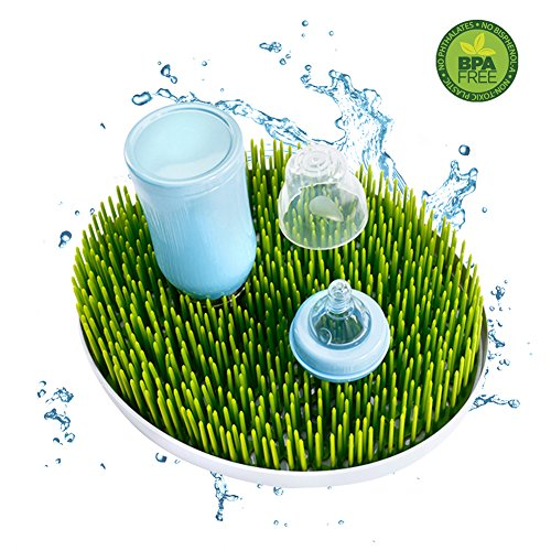 Oval Sprout Green (Large Baby Bottle Drying Rack,High Capacity Oval-shaped Version,Dish and Accessories Dryer Stand and Drainer Mat,Green.)