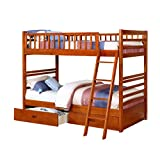 Oak Twin over Twin Bunk Bed with Storage Drawers