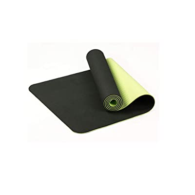 Amlaiworld Yoga Mat Extra Thick Mat TPE Eco Friendly Non Slip Fitness Exercise Mat (Dark Green): Clothing