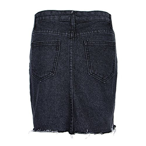 Taille Jupe XL Court Mode Jupe Filles Femme P Haute Jeans Dechir Slim Skinny Prettyia Mini S Noir Jupe t Denim Casual Jupe wqx4PvR