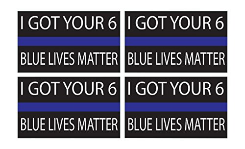 4 Pack Thin Blue Line - Blue Lives Matter Flag Sticker 5x3