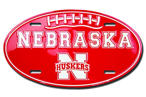 Nebraska Huskers Football Oval Metal License Plate